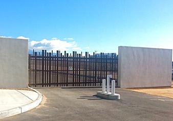 Sandia Pueblo police station cantilever gate